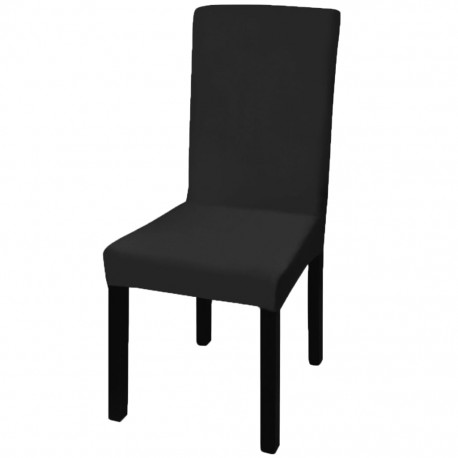 6 pcs Black Straight Stretchable Chair Cover