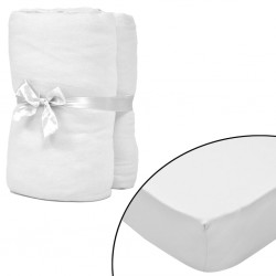 2 pcs Fitted Sheets for Mattress 180x200/200x220cm Cotton Jersey