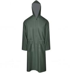 Wodoodporny, zielony płaszcz przeciwdeszczowy z kapturem M