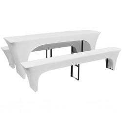 3 białe, rozciągliwe pokrowce na stół i ławki 220 x 70 x 80 cm