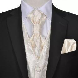 Męska kamizelka ślubna ze wzorem z krawatką i chusteczką rozm. 48 Krem