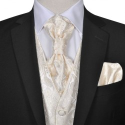 Męska kamizelka ślubna ze wzorem z krawatką i chusteczką rozm. 50 Krem
