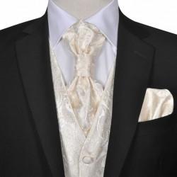 Męska kamizelka ślubna ze wzorem z krawatką i chusteczką rozm. 54 Krem