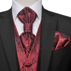 Men's Paisley Wedding Waistcoat Set Size 54 Burgundy