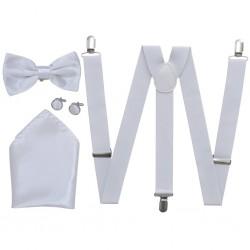 Men's Black Tie/Tuxedo Accessories Braces & Bow Tie Set White