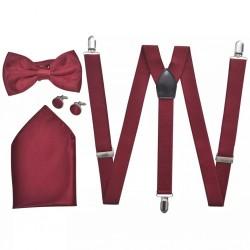 Men's Black Tie/Tuxedo Accessories Braces & Bow Tie Set Burgundy