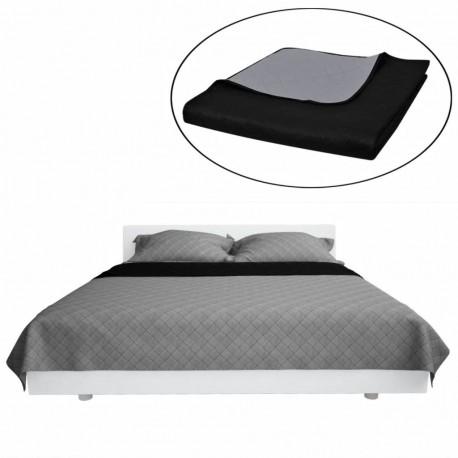 Dwustronna pikowana narzuta na łóżko Czarna/Szara 170 x 210 cm