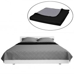 Double-sided Quilted Bedspread Black/Grey 230 x 260 cm