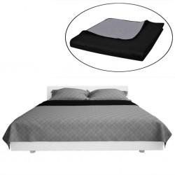 Dwustronna pikowana narzuta na łóżko Czarna/Szara 230 x 260 cm