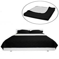 Dwustronna pikowana narzuta na łóżko Czarna/Biała 170 x 210 cm