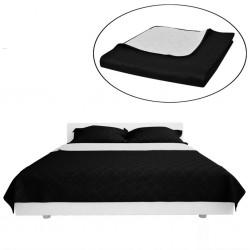 Dwustronna pikowana narzuta na łóżko Czarna/Biała 230 x 260 cm