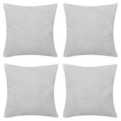 4 White Cushion Covers Cotton 50 x 50 cm