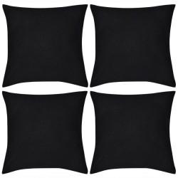 4 Black Cushion Covers Cotton 40 x 40 cm