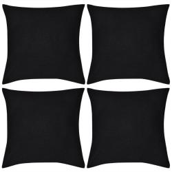 4 Black Cushion Covers Cotton 80 x 80 cm