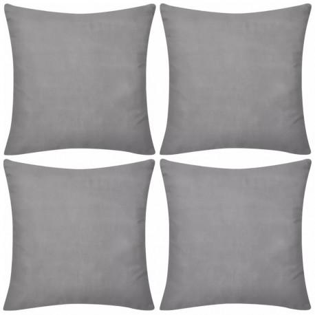 4 Szare bawełniane poszewki na poduszki 50 x 50 cm