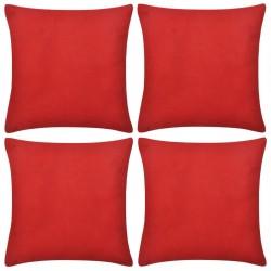 4 Czerwone bawełniane poszewki na poduszki 40 x 40 cm