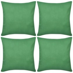 4 Green Cushion Covers Cotton 50 x 50 cm