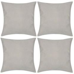 4 Beige Cushion Covers Linen-look 40 x 40 cm