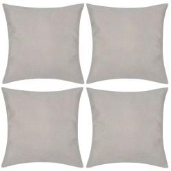 4 Beżowe poszewki na poduszki o wyglądzie lnianym 50 x 50 cm