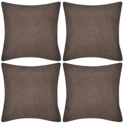 4 Brown Cushion Covers Linen-look 40 x 40 cm