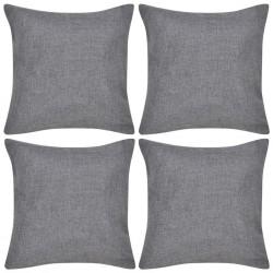 4 Antracytowe poszewki na poduszki o wyglądzie lnianym 50 x 50 cm