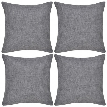 4 Anthracite Cushion Covers Linen-look 80 x 80 cm