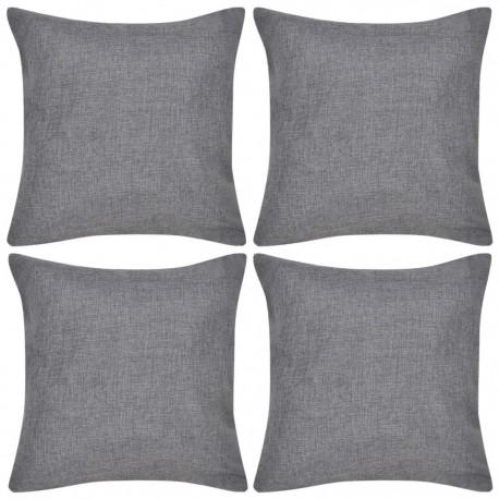 4 Antracytowe poszewki na poduszki o wyglądzie lnianym 80 x 80 cm