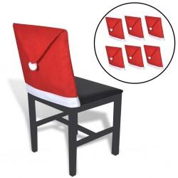 stradeXL Pokrowce na oparcia krzeseł w kształcie czapki Mikołaja, 6 szt.