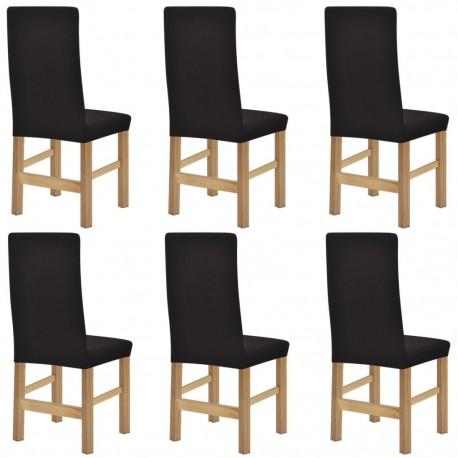 stradeXL Elastyczne pokrowce na krzesła, prążkowane, 6 szt., brązowe