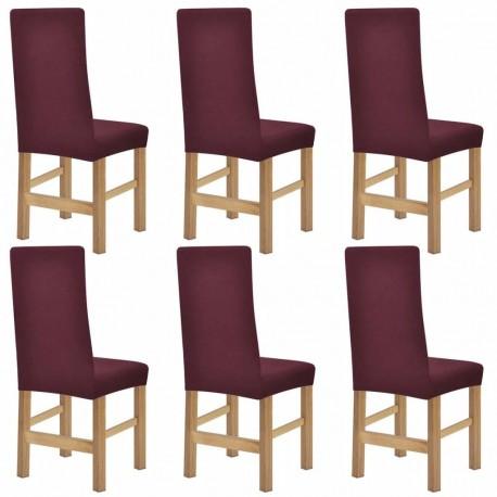stradeXL Elastyczne pokrowce na krzesła, 6 szt, burgundowe
