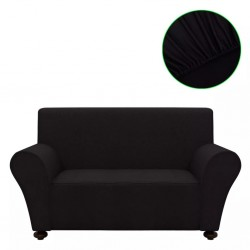 stradeXL Stretch Couch Slipcover Black Polyester Jersey