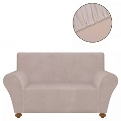 stradeXL Stretch Couch Slipcover Beige Polyester Jersey