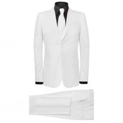 stradeXL 2-częściowy garnitur męski z krawatem biały rozmiar 48