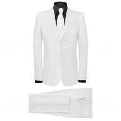 stradeXL Men's Two Piece Suit with Tie White Size 48