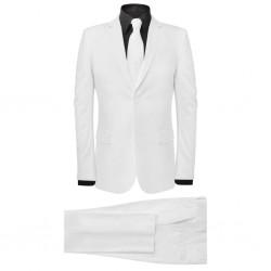 stradeXL 2-częściowy garnitur męski z krawatem biały rozmiar 50
