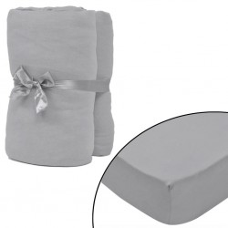 stradeXL Fitted Sheet 2 pcs Cotton Jersey 120x200-130x200 cm Grey