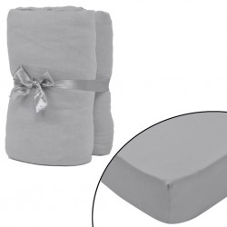 stradeXL Fitted Sheet 2 pcs Cotton Jersey 140x200-160x200 cm Grey