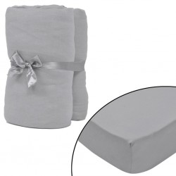 stradeXL Fitted Sheet 2 pcs Cotton Jersey 180x200-200x220 cm Grey