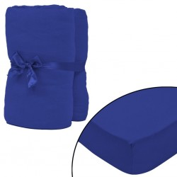 stradeXL Fitted Sheet 2 pcs Cotton Jersey 140x200-160x200 cm Blue