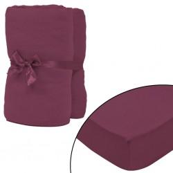 stradeXL Fitted Sheet 2 pcs Cotton Jersey 140x200-160x200 cm Burgundy