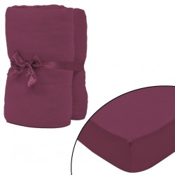 stradeXL Fitted Sheet 2 pcs Cotton Jersey 180x200-200x220cm Burgundy
