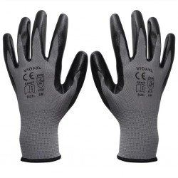 stradeXL Work Gloves Nitrile 24 Pairs Grey and Black Size 8/M