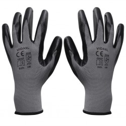 stradeXL Work Gloves Nitrile 24 Pairs Grey and Black Size 9/L