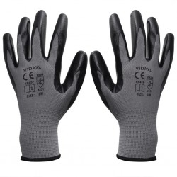 stradeXL Work Gloves Nitrile 24 Pairs Grey and Black Size 10/XL