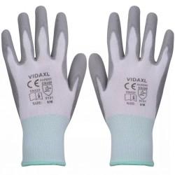 stradeXL Work Gloves PU 24 Pairs White and Grey Size 8/M