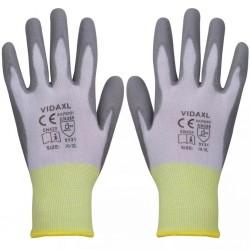 stradeXL Work Gloves PU 24 Pairs White and Grey Size 10/XL