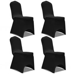 stradeXL Elastyczne pokrowce na krzesło czarne 4 szt.