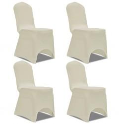 stradeXL Elastyczne pokrowce na krzesło kremowe 4 szt.