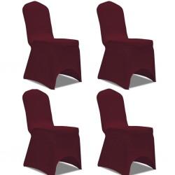 stradeXL Elastyczne pokrowce na krzesło bordowe 4 szt.