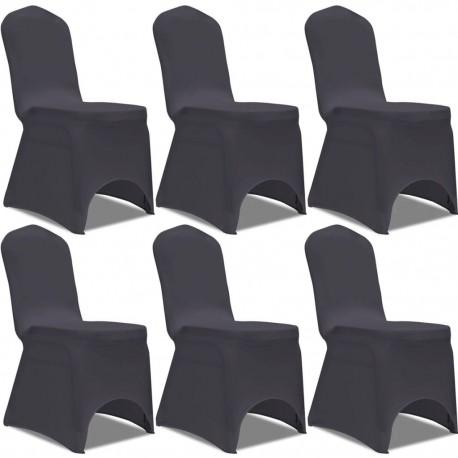 stradeXL Elastyczne pokrowce na krzesło, 6 szt., antracytowe